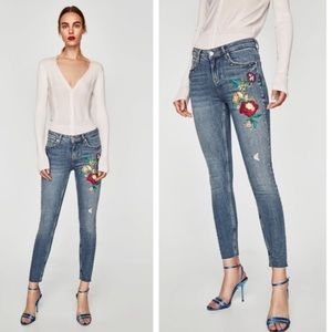 Zara Floral Embroidered Studded Ankle Skinny Jeans